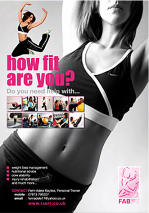 Personal trainer promotional poster campaign for FAB PT