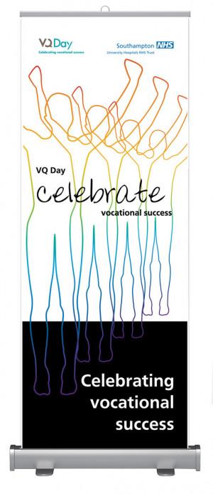 VQ Day celebration banner for NHS