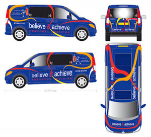 Believe & Achieve personal training, brand design and vehicle graphics