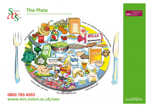 Healthy eating plate poster for MRC Unit, University of Southampton